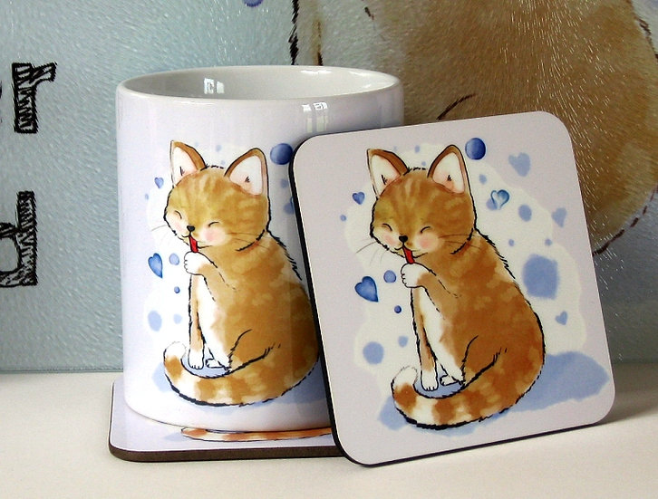 Sandy cat 'Time spent with cats is never wasted'  mug and optional coaster