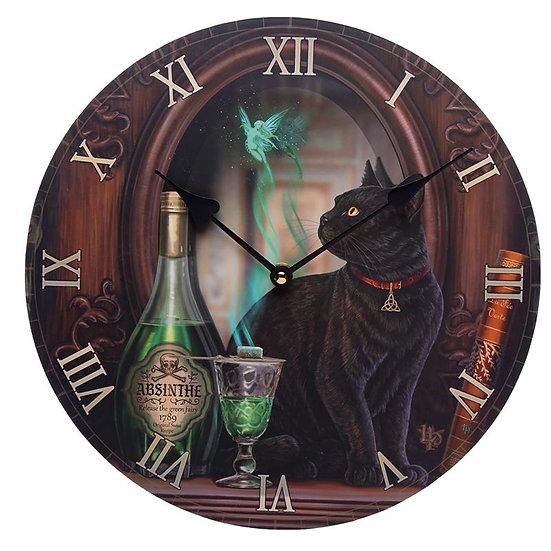 Lisa Parker 'Absinthe Black Cat' wall clock