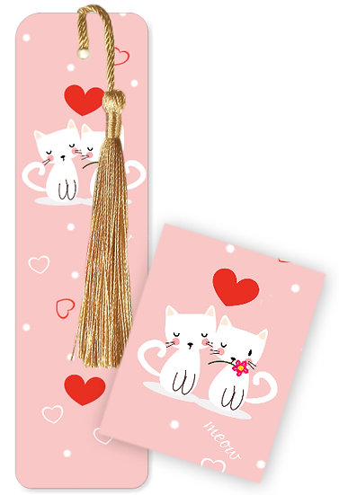 Meow cats bookmark with tassel