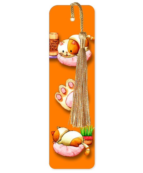 Lazy cats bookmark with tassel