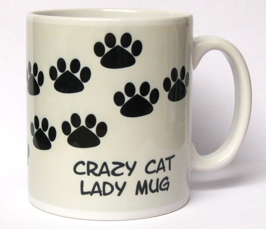 Grey background 'Crazy Cat Lady' mug