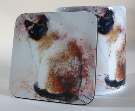 Time spent with cats is never wasted - Siamese cat mug and coaster
