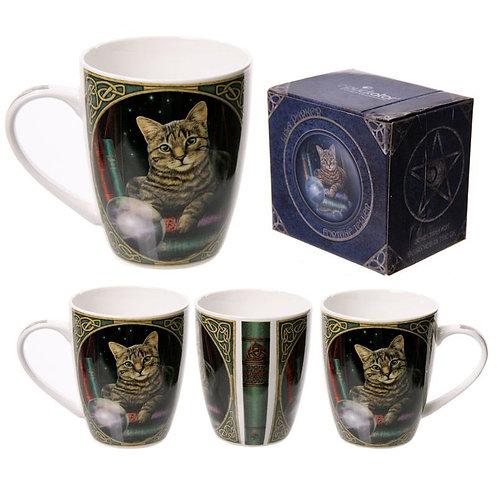 Lisa Parker Fortune Teller Cat porcelain mug