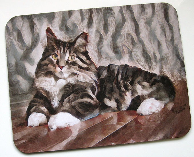 Tabby cat fabric topped mousemat
