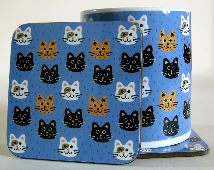 Smiling Cats mug and optional coaster