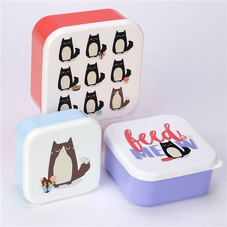 Feline Fine lunch boxes - set of three