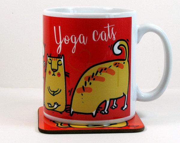 Yoga Cats mug and four optional coasters