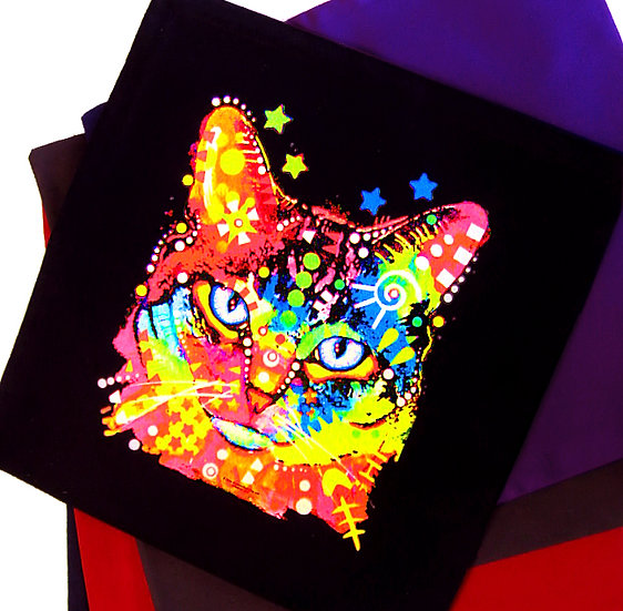 Neon cat cotton cushion (five colours)