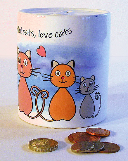 Happy cats money bank