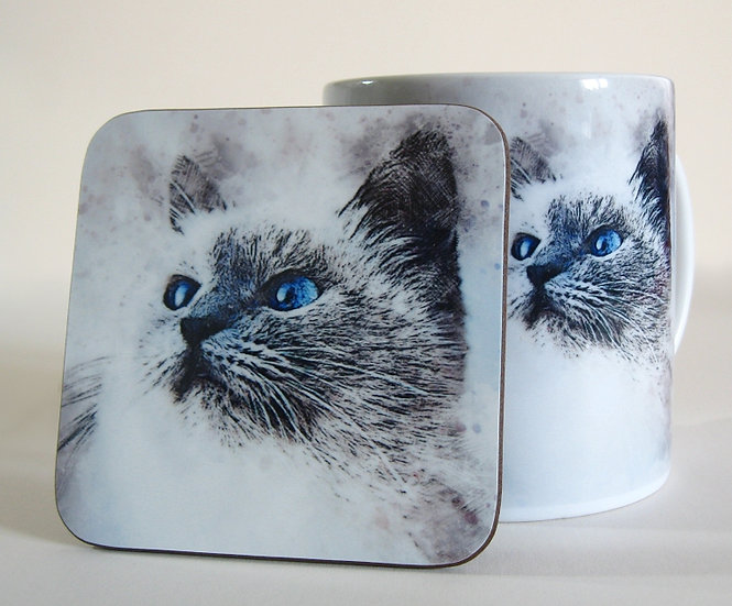 Time spent with cats is never wasted - grey cat mug and coaster