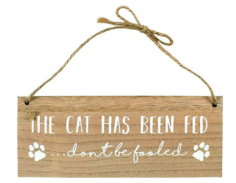 Reversible 'The cat has been fed' wall sign