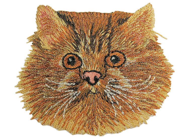 Ginger cat heat seal iron-on embroidery badge