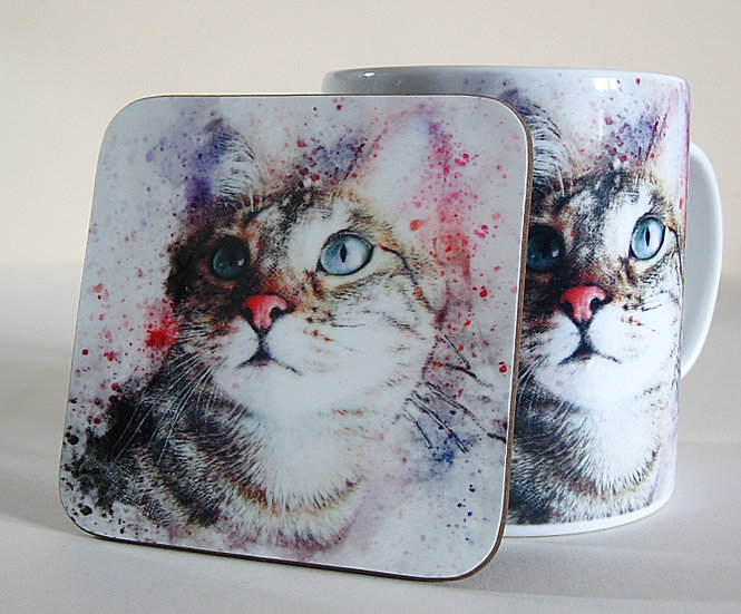Time spent with cats is never wasted - tabby cat mug and coaster