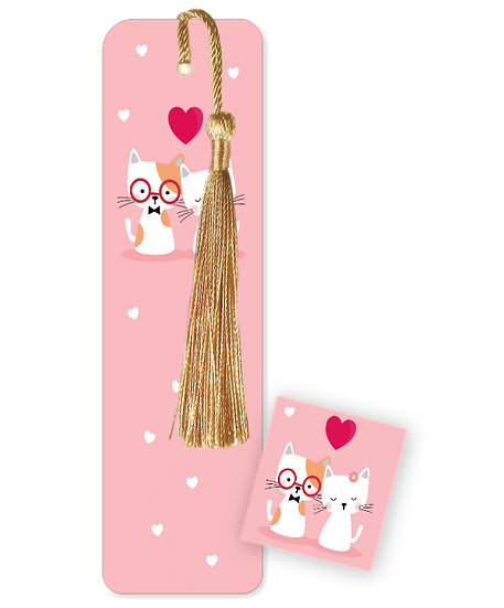 Cats with glasses bookmark with tassel