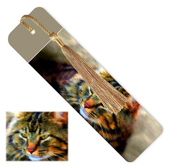 Tiger cat bookmark with tassel