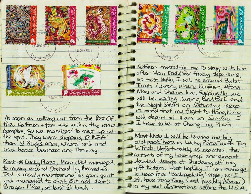 Exotic postage stamps on a travel journal