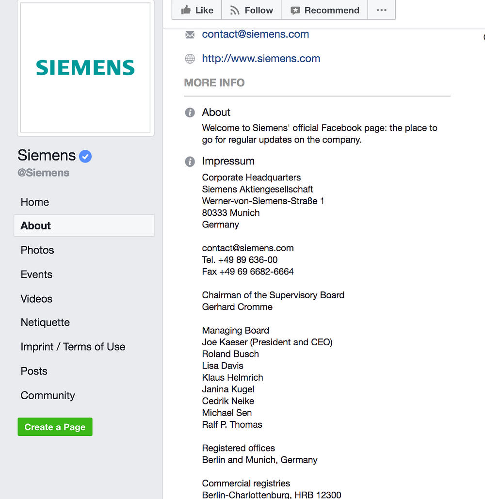 Screenshot of an impressum example from Siemens Facebook page