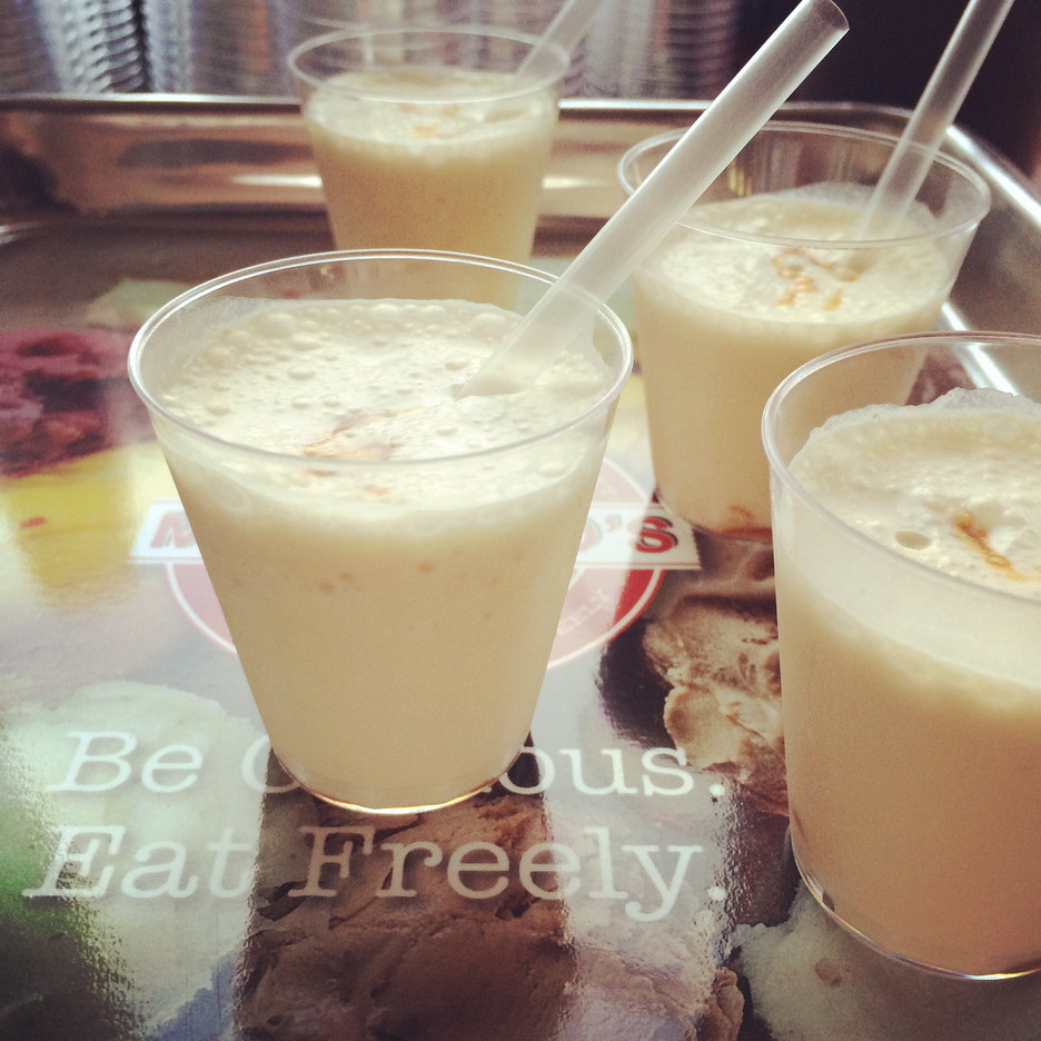 Milkshakes with Caramel & Sea Salt Gelato and Bourbon
