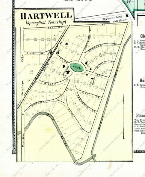 a map of early historical hartwell, ohio