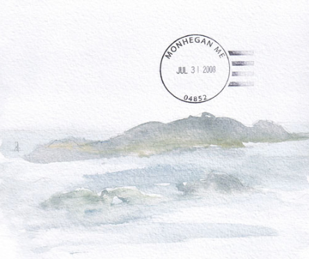 Post Office Stamp on travel journal page