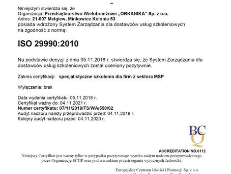 Orkanika Sp. z o.o. otrzymuje certyfikat ISO 29990.