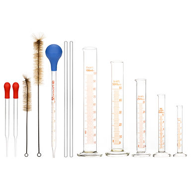 5 Pcs Glass Graduated Cylinder Set with Pipettes/Stirring Rods/Clean Brushes