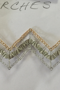 Zig-Zag wire lace sample by Lauran Sundin
