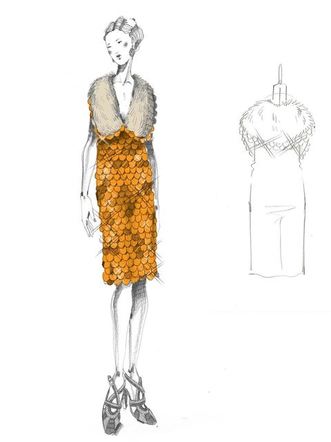 "One of Miuccia Prada's sketches for the 2013 film, ""The Great Gat"