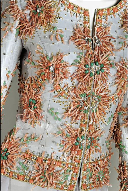 Close up of jacket with spectacular coral embroidery, Valentino Couture 2004, embroidery by Pino Grasso