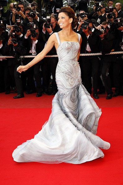 Atelier Versace gown worn by Eva Longoria in Cannes in 2009, emboidery by Pino Grasso ricami