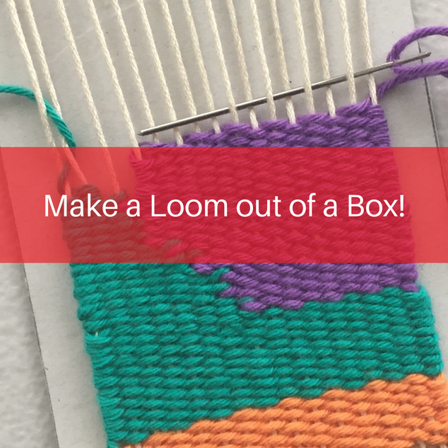 Make a simple loom out of a recycled cardboard box and weave your very own tapestry!