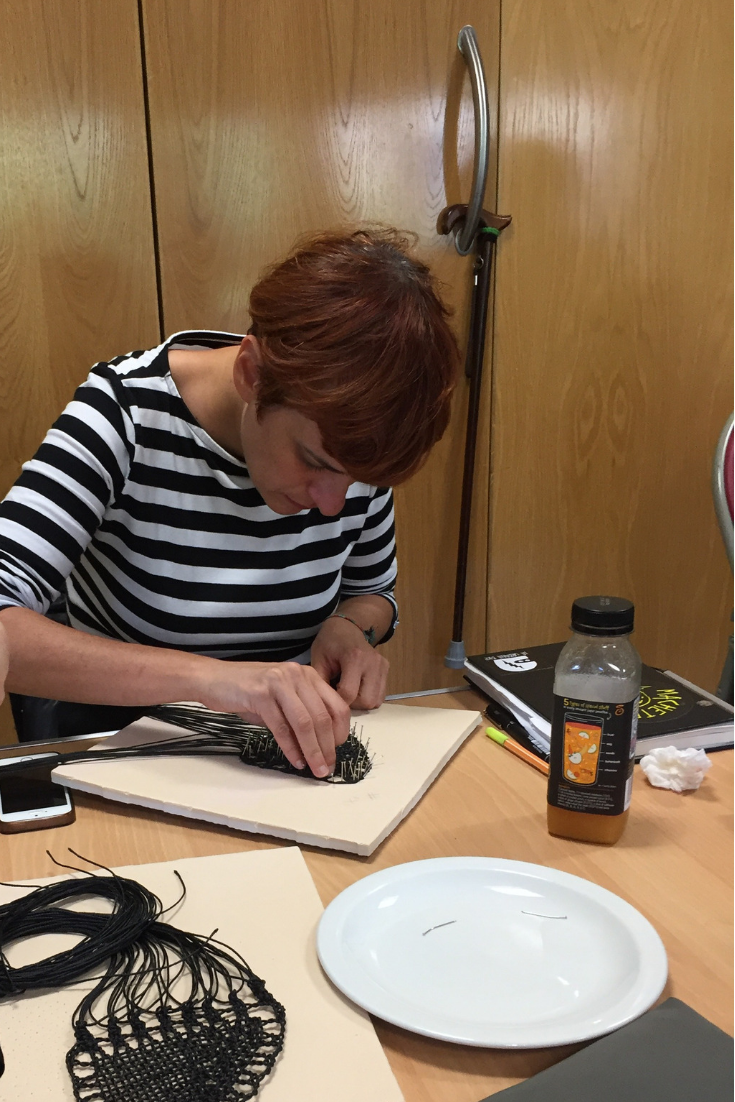 Marian Nuñez hard at work during Pierre Fouché's workshop
