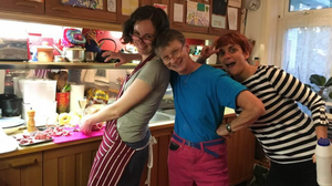 Me, Hanne Behrens & Marian Nuñez in Lily & Clive's kitchen, cooking during Lace Camp. Thanks to Cheri Dunnigan for the photo!