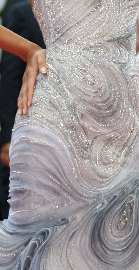 Detail of embroidery on Atelier Versace gown worn by Eva Longoria at Cannes in 2009