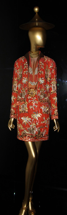 Jacket and skirt from Valentino's 1990-91 collection, embroidery by Pino Grasso