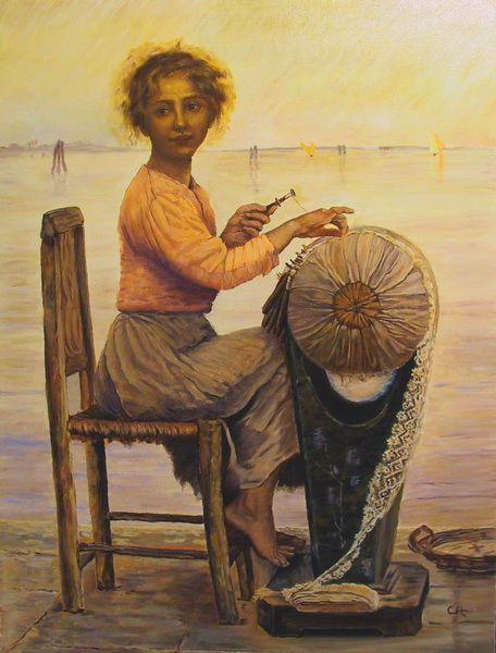 """The Little Lace Maker of Pellestrina"", 1897, by Edmond de Pury"