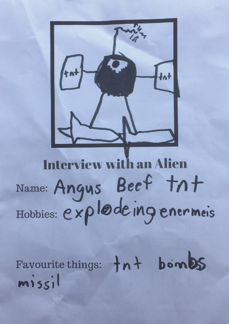 Young Mr J's Alien friend Angus Beef TNT