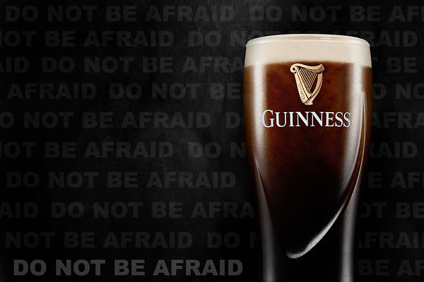 Guinness Don't Be Afraid Of The Dark Harp Black Beer Photography Still Life Advertising Ned Gibbs Photographer London Saffron Walden 10 Years Experience Experienced Special Effects In Camera Sony A7R iv Macro Cool Talented Lighting Studio Liquid Do Not Be Afraid