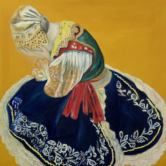 Hidden Daughter, 130 x 130 cm oil on can
