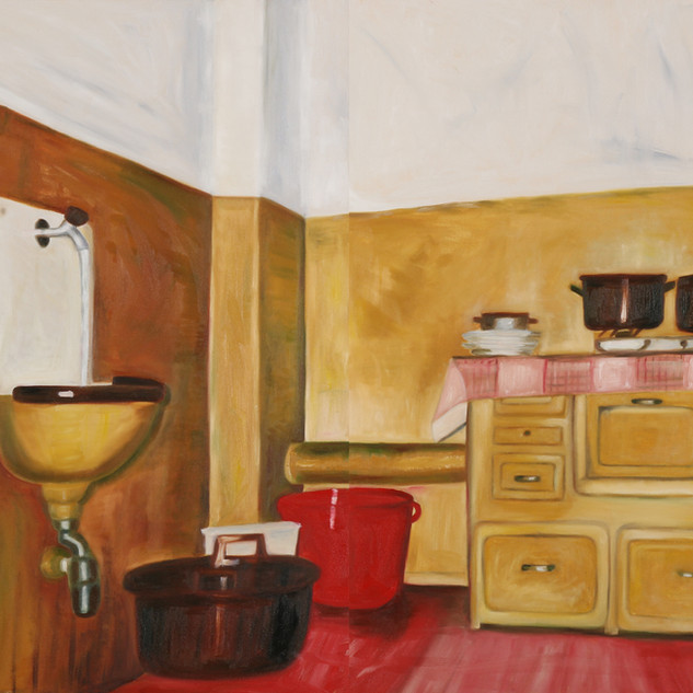The Kitchen , oil on canvas, 180 x 120 c