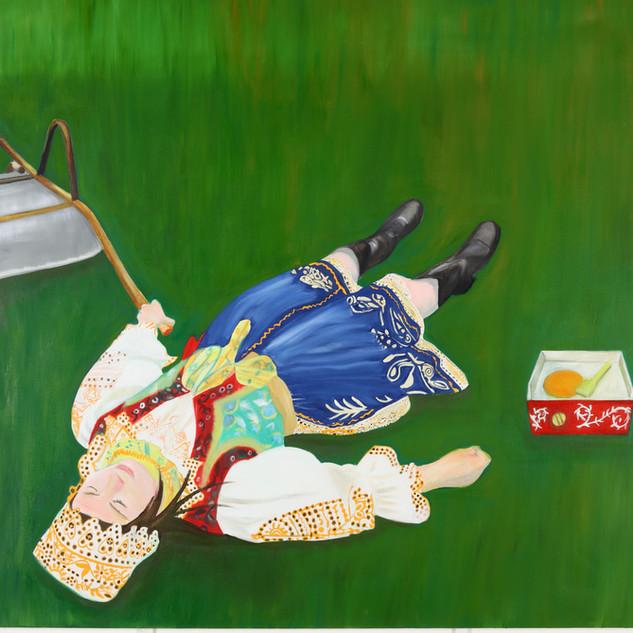 The Wheelbarrow, Acrylic on canvas , 150 x 180 cm