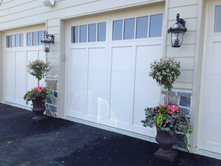 outdoor potted plants decorating garage front