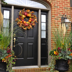 fall decor on a residential door