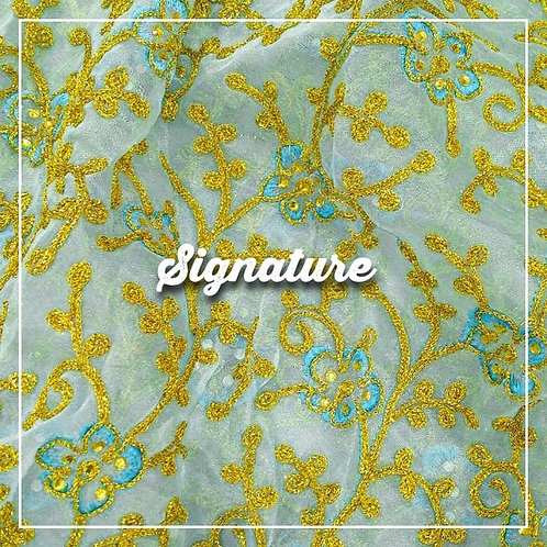 GOLDEN FLORAL PATTERN ORGANZA FABRIC WITH SEQUENCE WORK