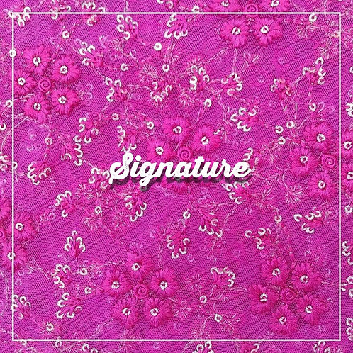 FUCHSIA PINK NET FABRIC WITH FLORAL THREAD WORK