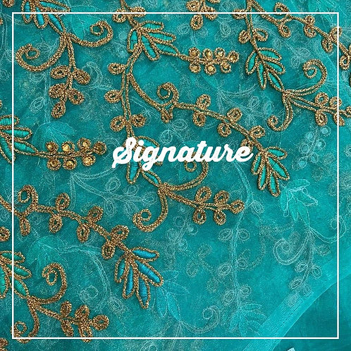 TURQUOISE BLUE ORGANZA FABRIC WITH   STYLISH GOLDEN THREAD WORK