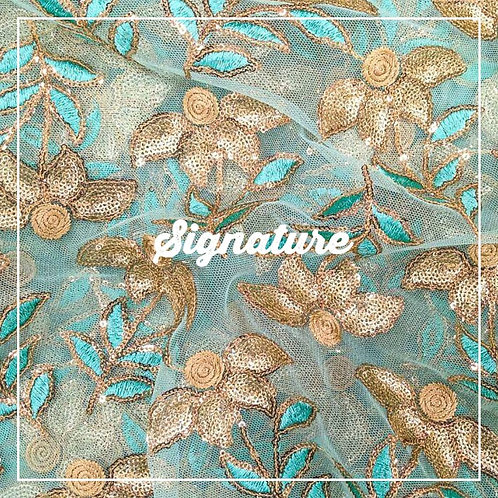 AQUA BLUE NET FABRIC WITH THREAD AND GOLDEN FLORAL EMBROIDERY
