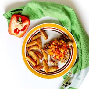 Vištiena su persikų salsa