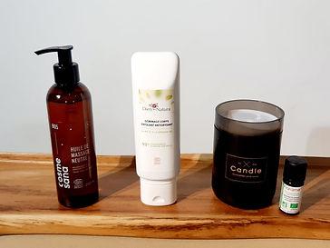huile de massage biologique, gommage pour le corps biologique, huile essentielle purifiante biologique