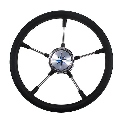 Рулевое колесо RIVA RSL обод черный, спицы серебряные д. 360 мм